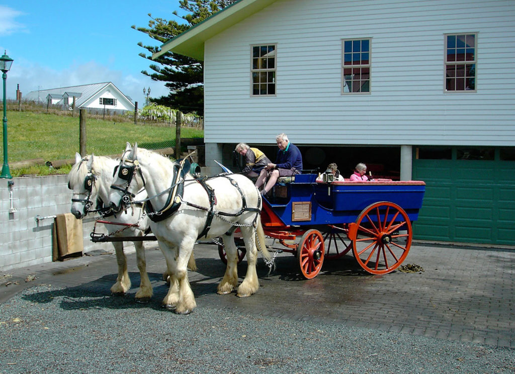 The blue cart outside the carriage house kerikeri bay of islands nz